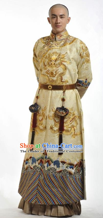 Chinese Traditional Kangxi Fourteen Prince Yinzhen Historical Costume China Qing Dynasty Embroidered Clothing