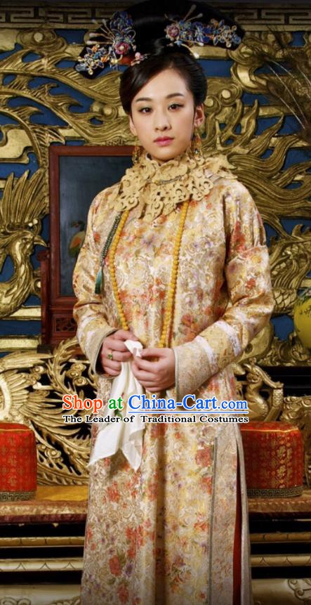 Chinese Ancient Kangxi Empress Historical Replica Costume China Qing Dynasty Manchu Lady Embroidered Clothing