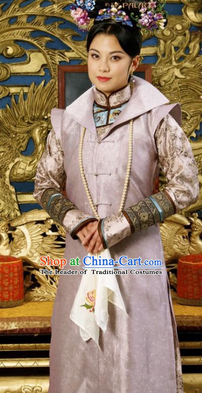 Chinese Ancient Kangxi Empress Dowager Historical Replica Costume China Qing Dynasty Manchu Lady Embroidered Clothing