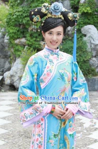 Chinese Ancient Shunzhi Imperial Concubine Historical Replica Costume China Qing Dynasty Palace Lady Embroidered Clothing
