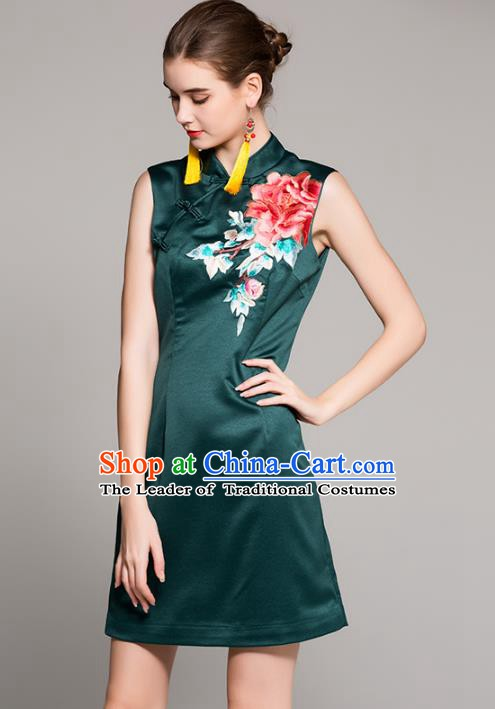Chinese National Costume Tang Suit Green Qipao Dress Traditional Embroidered Peony Cheongsam for Women
