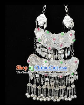 Traditional Chinese Miao Nationality Tassel Necklace Hmong Accessories Sliver Longevity Lock for Women
