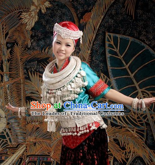 Traditional Chinese Miao Minority Nationality Dance Costume Hmong Female Folk Dance Dress for Women