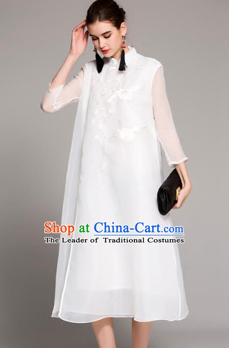 Chinese National Costume Tang Suit White Qipao Dress Traditional Embroidered Cranes Cheongsam for Women