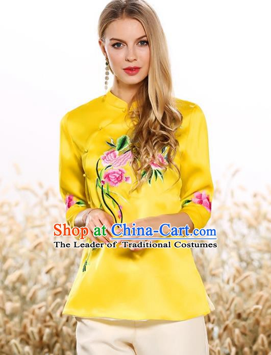 Chinese National Costume Tang Suit Qipao Yellow Blouse Traditional Embroidered Peony Shirts for Women