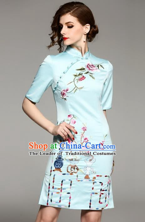 Chinese National Costume Tang Suit Silk Qipao Dress Traditional Embroidered Blue Cheongsam for Women