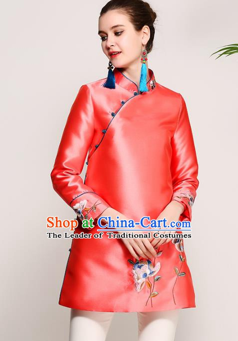 Chinese National Costume Tang Suit Red Blouse Traditional Embroidered Upper Outer Garment for Women
