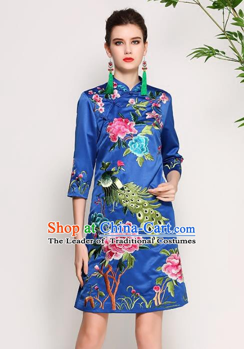 Chinese National Costume Tang Suit Blue Silk Qipao Dress Traditional Embroidered Peony Cheongsam for Women