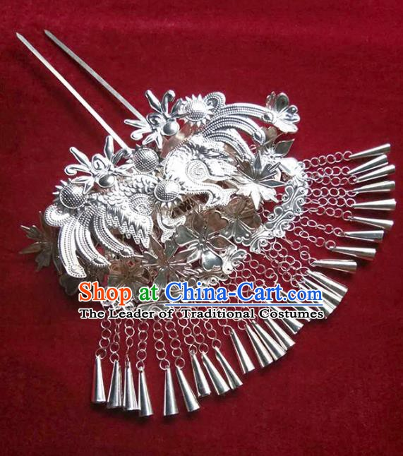 Traditional Chinese Miao Nationality Hair Accessories Tassel Hairpins Sliver Hair Clip Headwear for Women
