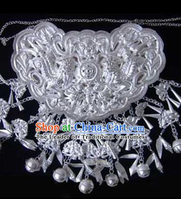 Traditional Chinese Miao Nationality Necklace Hmong Female Accessories Sliver Tassel Longevity Lock for Women
