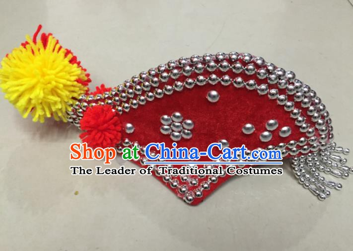 Traditional Chinese Bai Nationality Hair Accessories Red Cockscomb Hats Yi Ethnic Minority Headwear for Women