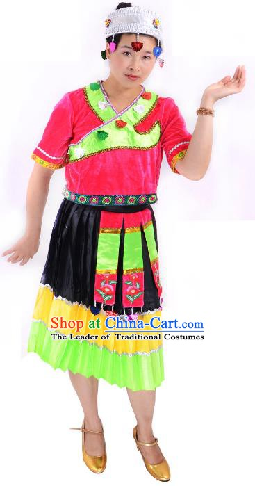 Traditional Chinese Miao Nationality Costume China Hmong Ethnic Minority Dress for Women