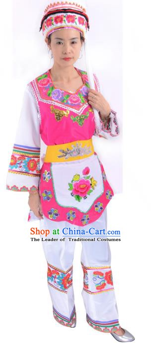 Traditional Chinese Bai Nationality Dance Costume, Female Folk Dance Ethnic Minority Embroidery Clothing for Women