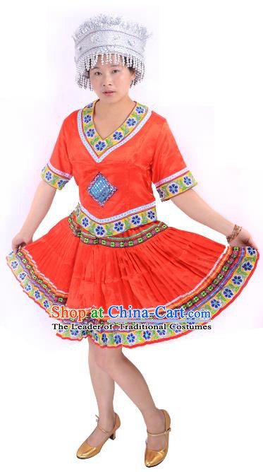 Traditional Chinese Miao Nationality Costume China Hmong Ethnic Minority Red Dress for Women