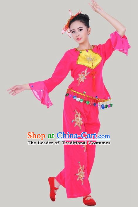 Traditional Chinese Classical Dance Yangge Fan Dancing Costume, Folk Dance Rosy Uniform Yangko Costume for Women