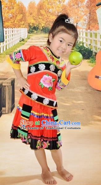 Traditional Chinese Yi Nationality Dance Embroidery Costume, Folk Dance Ethnic Dance Red Dress for Kids