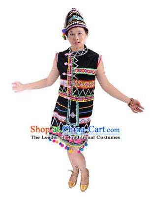 Traditional Chinese Gaoshan Nationality Folk Dance Costume China Ethnic Minority Black Dress for Women