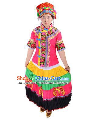 Traditional Chinese Yi Nationality Folk Dance Pink Costume China Ethnic Minority Pleated Skirt for Women