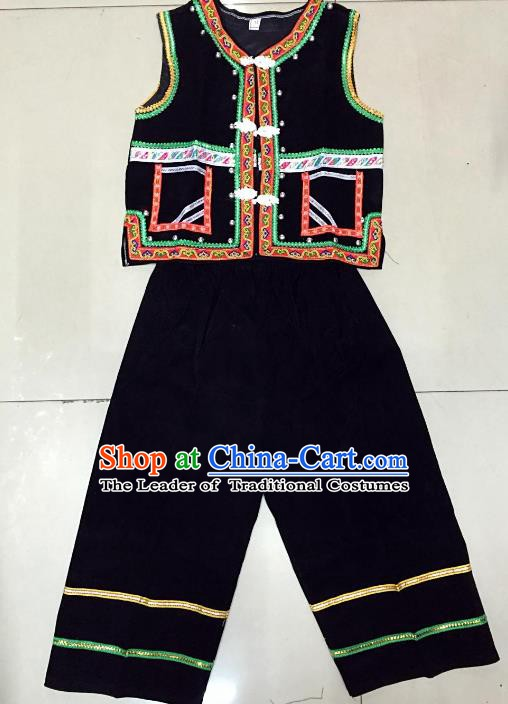 Traditional Chinese Yi Nationality Costume, Folk Dance Yi Ethnic Dance Clothing for Kids