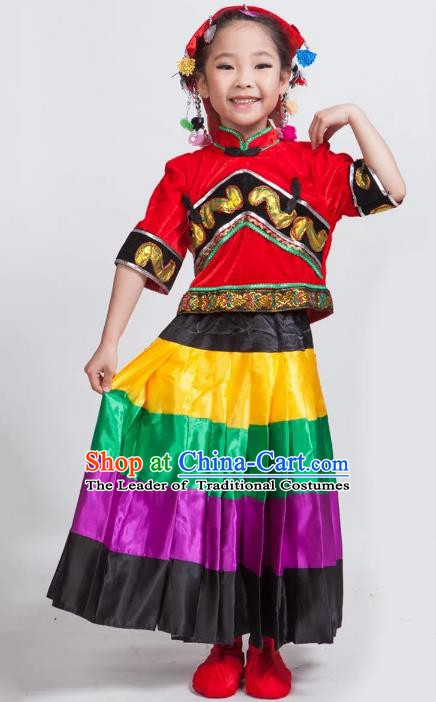 Traditional Chinese Yi Nationality Red Costume, China Yi Ethnic Folk Dance Clothing for Kids