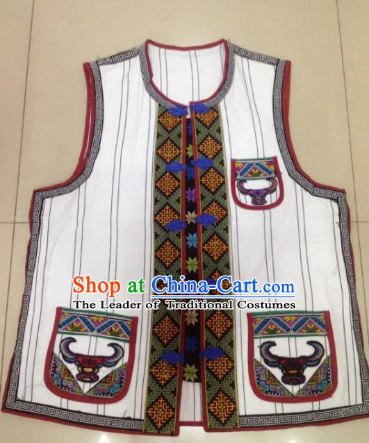 Traditional Chinese Yi Nationality Costume White Vests, China Yi Ethnic Folk Dance Clothing for Kids