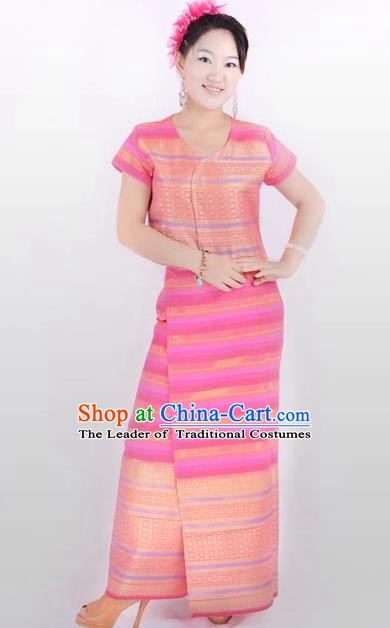 Traditional Chinese Dai Nationality Costume, China Peacock Dance Folk Dance Pink Dress for Women