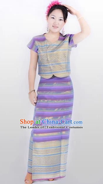 Traditional Chinese Dai Nationality Costume, China Peacock Dance Folk Dance Purple Dress for Women