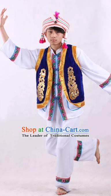 Traditional Chinese Bai Nationality Costume Embroidered Ethnic Folk Dance Clothing for Men
