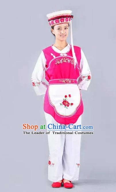 Traditional Chinese Bai Nationality Minority Dance Costume, Female Folk Dance Yi Ethnic Clothing for Women