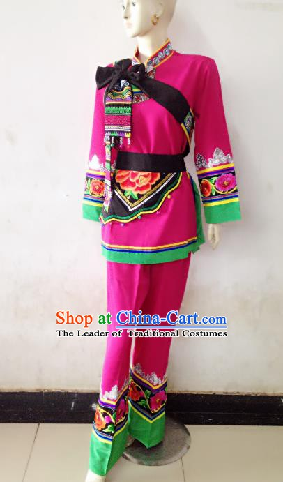 Traditional Chinese Yi Nationality Dance Costume Folk Dance Ethnic Clothing for Women