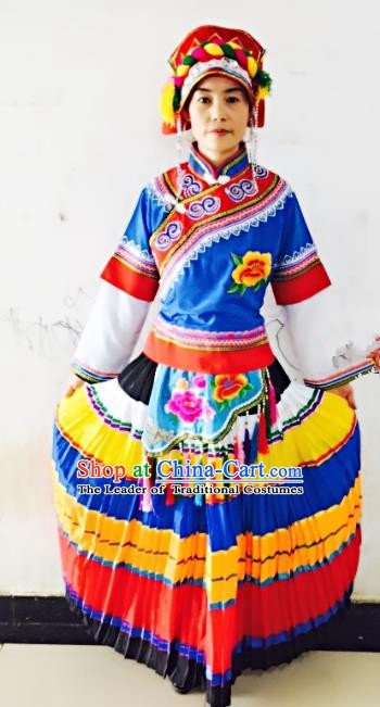 Traditional Chinese Yi Nationality Dance Costume Blue Dress Folk Dance Ethnic Clothing for Women