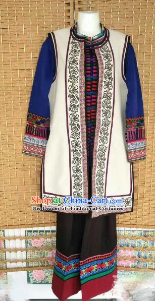 Traditional Chinese Yi Nationality Costume Ethnic Folk Dance Embroidered Clothing for Men