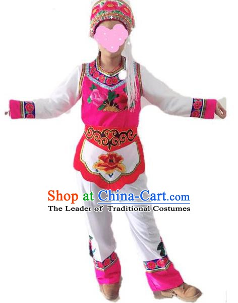 Traditional Chinese Bai Nationality Performance Clothing Ethnic Folk Dance Embroidered Costume for Women