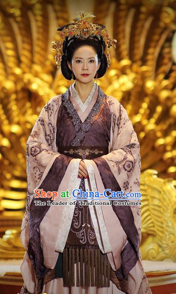 Ancient Chinese Traditional Han Dynasty Empress Dowager Wang Hanfu Dress Replica Costume for Women