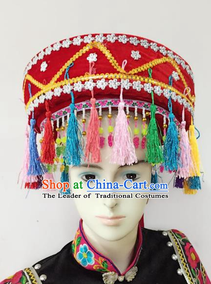 Traditional Chinese Yi Nationality Minority Red Hats Hair Accessories Ethnic Headwear for Women