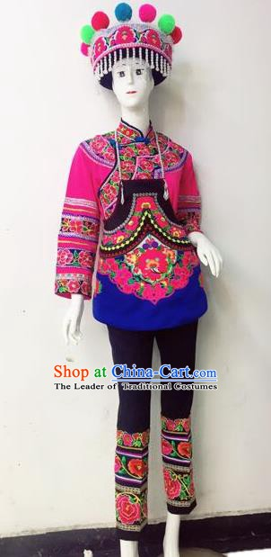 Traditional Chinese Yi Nationality Minority Dance Costume, Female Folk Dance Yi Ethnic Embroidered Clothing for Women