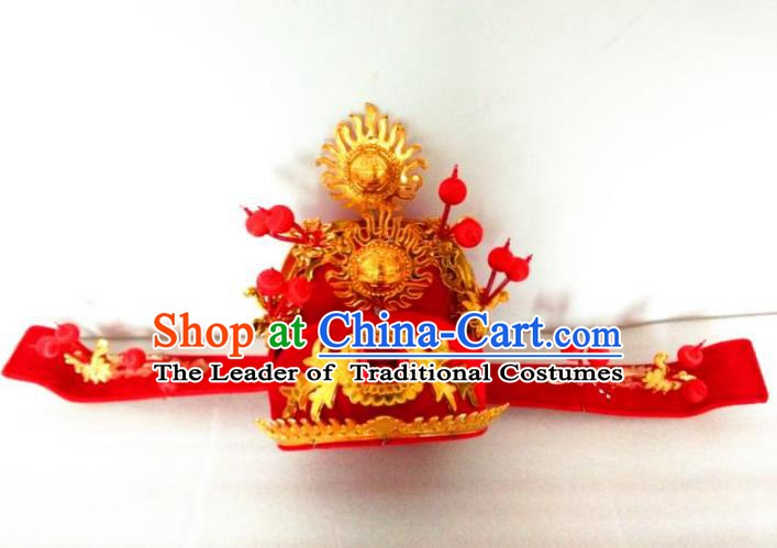 Traditional China Beijing Opera Hats Ancient Chinese Peking Opera God of Wealth Headwear