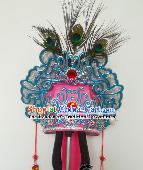Traditional Chinese Beijing Opera Niche Hair Accessories Pink Hats Peking Opera Young Men Headwear