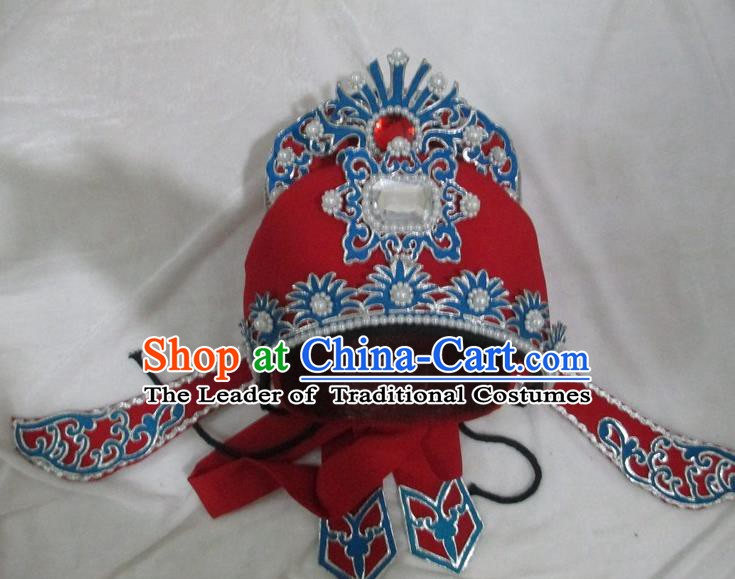 Traditional Chinese Beijing Opera Niche Hair Accessories Red Hats Peking Opera Young Men Headwear
