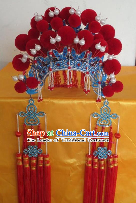 Traditional Chinese Beijing Opera Hair Accessories Princess Red Phoenix Coronet Peking Opera Actress Headwear