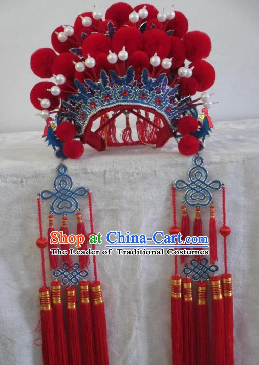 Traditional Chinese Beijing Opera Red Phoenix Coronet Hair Accessories Female Headgear Peking Opera Actress Headwear
