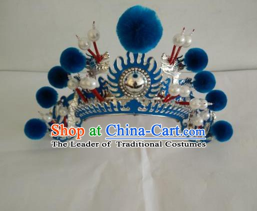 Traditional Chinese Beijing Opera Female Soldier Blue Venonat Helmet Peking Opera Actress Headwear