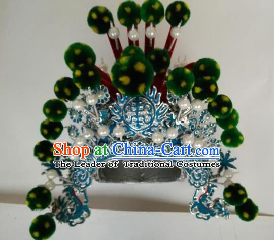 Traditional Chinese Beijing Opera Takefu Green Venonat Hats Peking Opera Warrior Headwear