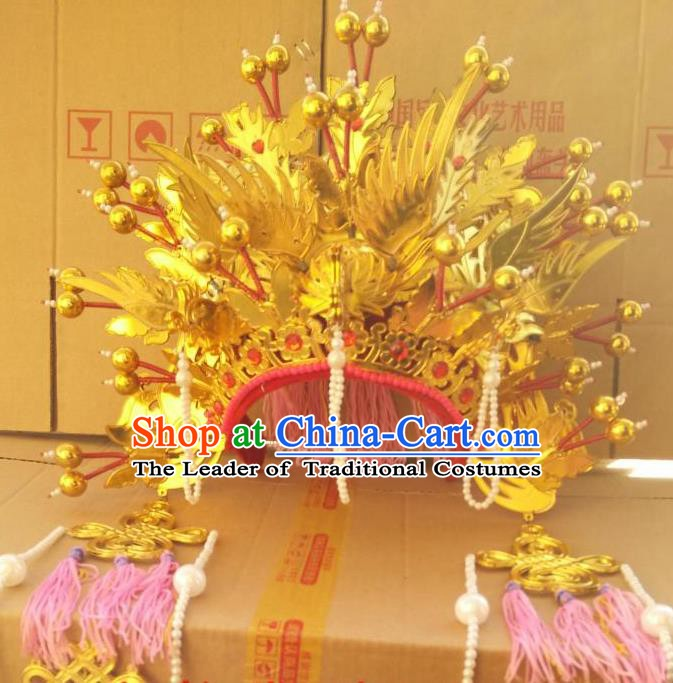 Traditional Chinese Beijing Opera Bride Golden Phoenix Coronet Peking Opera Actress Headwear