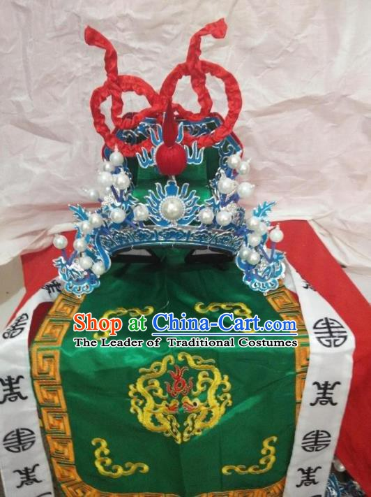 Traditional Chinese Beijing Opera General Green Hats Peking Opera Military Officer Headwear