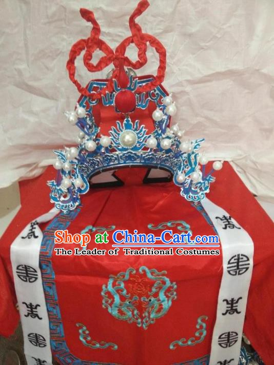 Traditional Chinese Beijing Opera General Red Hats Peking Opera Military Officer Headwear
