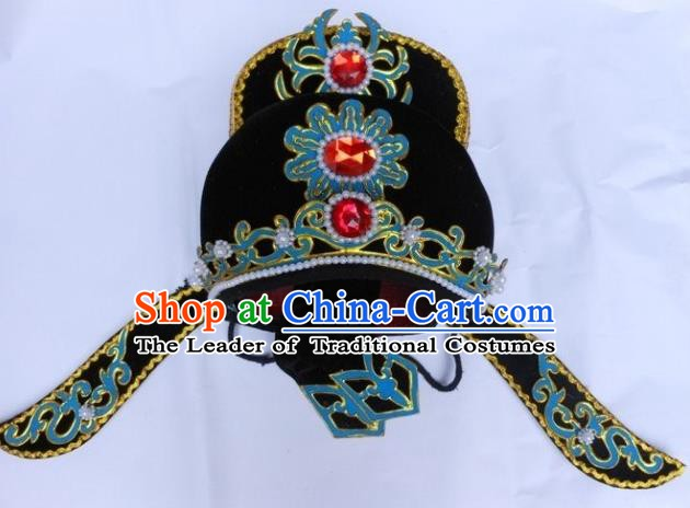 Traditional Chinese Beijing Opera Scholar Black Hats Peking Opera Niche Headwear