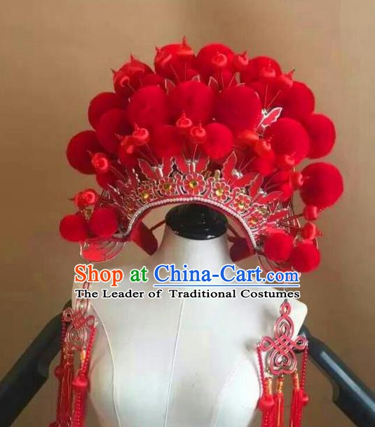 Traditional Chinese Beijing Opera Diva Red Venonat Phoenix Coronet Peking Opera Actress Hats Headwear