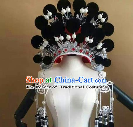Traditional Chinese Beijing Opera Diva Black Venonat Phoenix Coronet Peking Opera Actress Hats Headwear