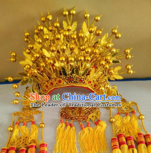 Traditional Chinese Beijing Opera Diva Golden Butterfly Phoenix Coronet Peking Opera Actress Hats Headwear